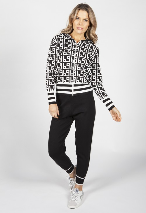 Pamela Scott Black Geometric Design Double Knit Jogger Set