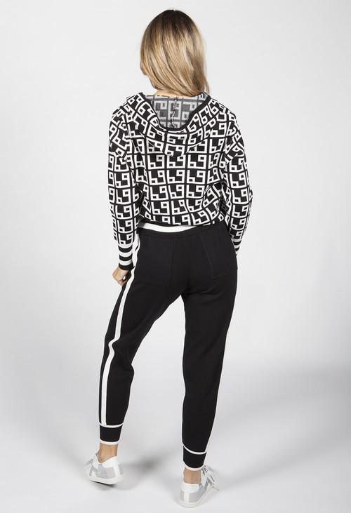 Pamela Scott Black Geometric Design Double Knit Jogger Set