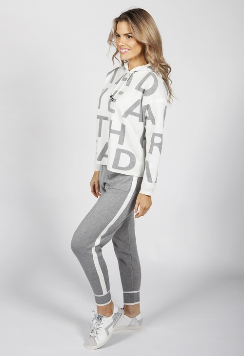 Pamela Scott Cream and Grey Lettered Double Knit Jogger Set