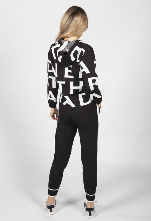 Pamela Scott Black Lettered Double Knit Jogger Set