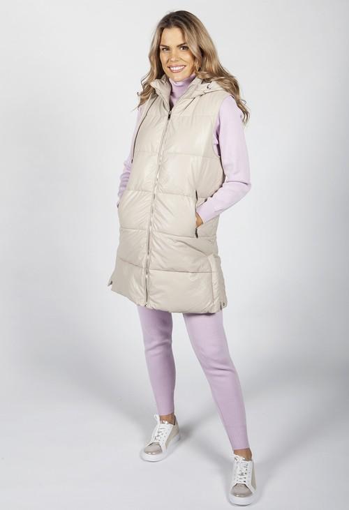 Pamela Scott Padded Beige Leather Look Gilet