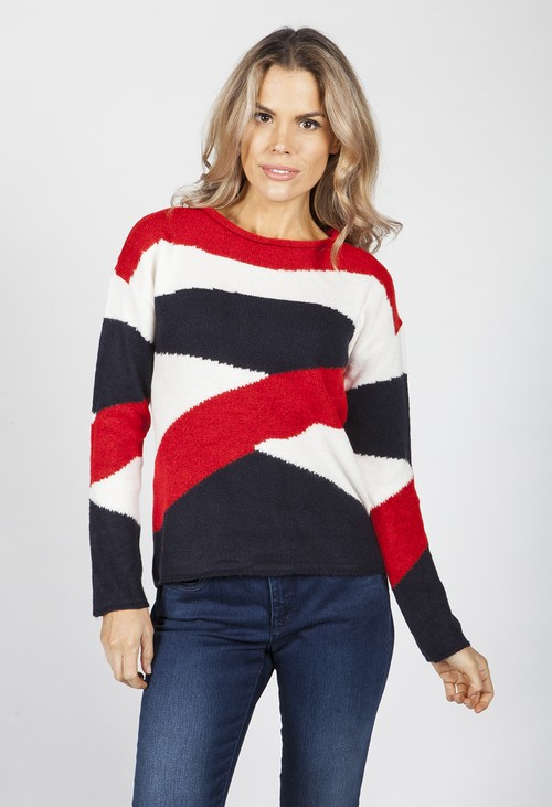 Twist Navy Swirl Knit Jumper