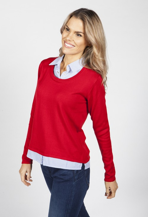Twist Ruby Red Knit Top with Shirt Details