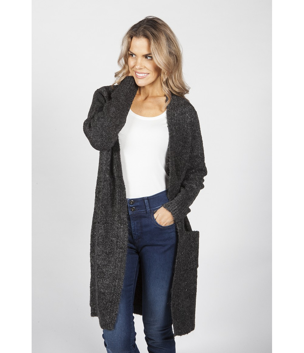 Sophie B Charcoal Soft Touch boucle Cardigan
