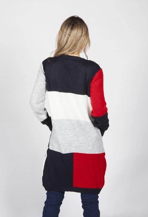 Twist Navy Colour Block Cardigan