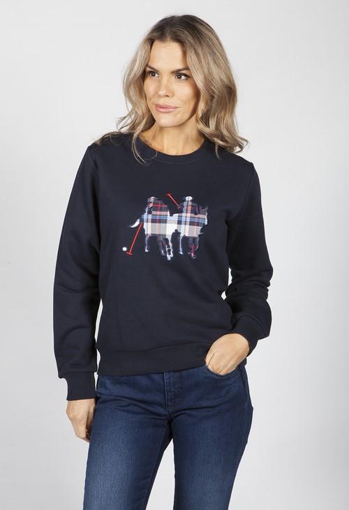 Twist Navy Polo Check Print Sweatshirt