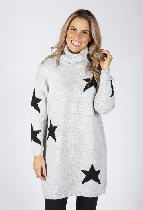 Zapara Light Grey Knit Tunic with Black Star Design