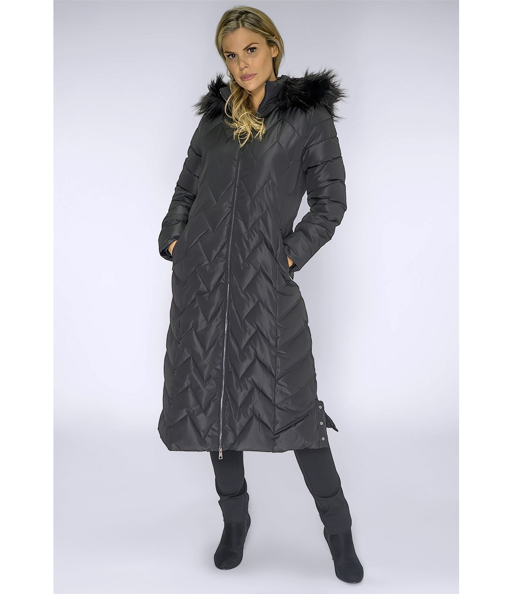 PS Collection Long Black Coat with Detachable Faux Fur Hood