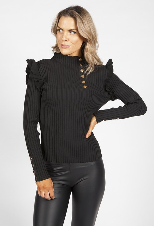 Pamela Scott Black Ribbed High Neck Top