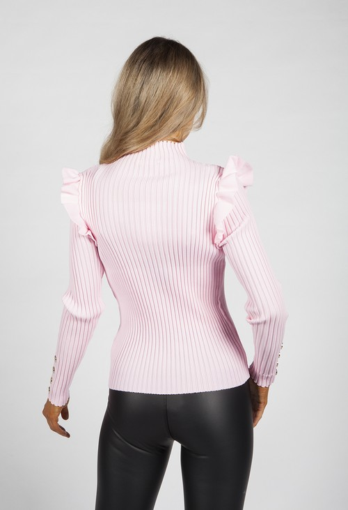 Pamela Scott Bright Baby Pink Ribbed High Neck Top
