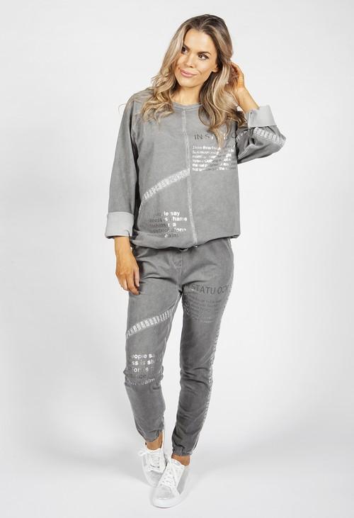 Zapara Worn Grey and Silver Jogger Set