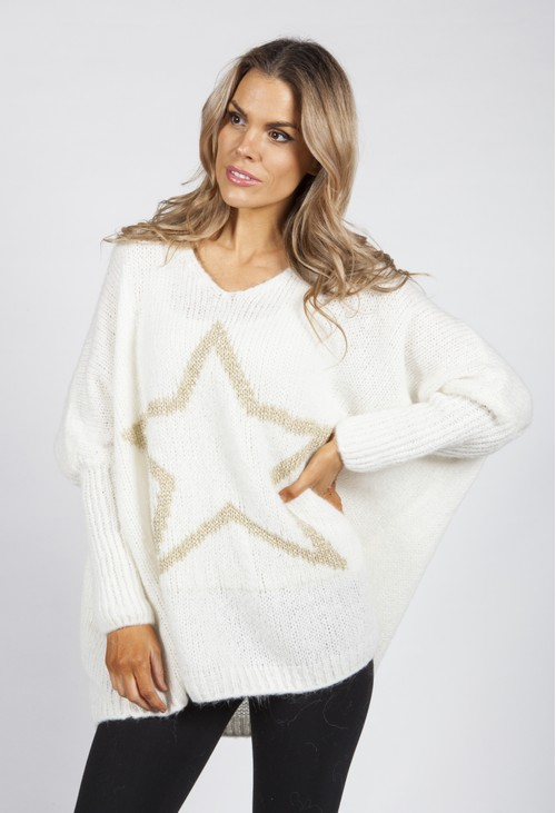 Pamela Scott Cream Star Knit Jumper