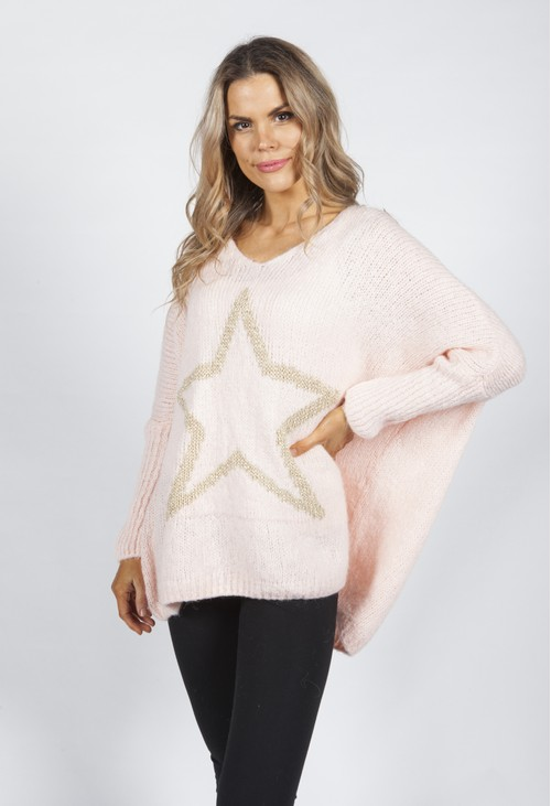 Pamela Scott Blush Pink Star Knit Jumper