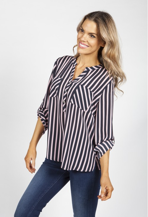 Twist Navy and Pink Stripes Blouse