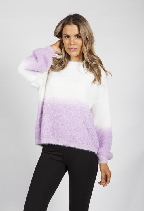 Pamela Scott Lilac and White Feathered Knit Jumper