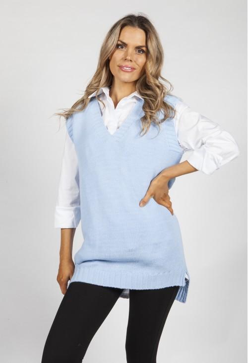 Zapara Sky Blue Knit Vest