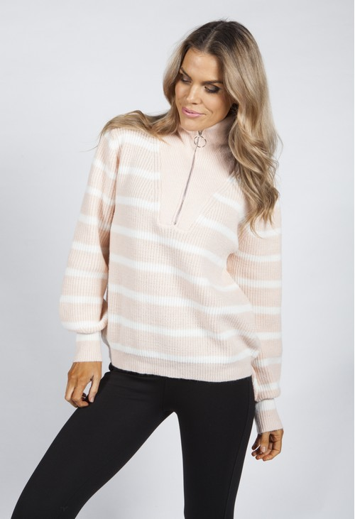 Pamela Scott Peach Sorbet Striped Knit Pullover