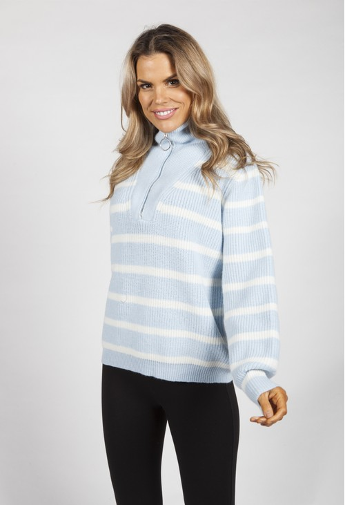 Pamela Scott Sky Blue Striped Knit Pullover
