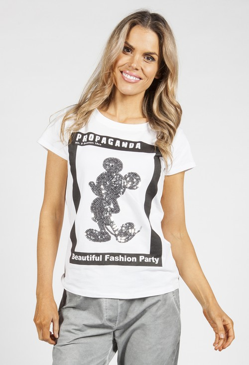 Pamela Scott Silver Sequin printed T-Shirt