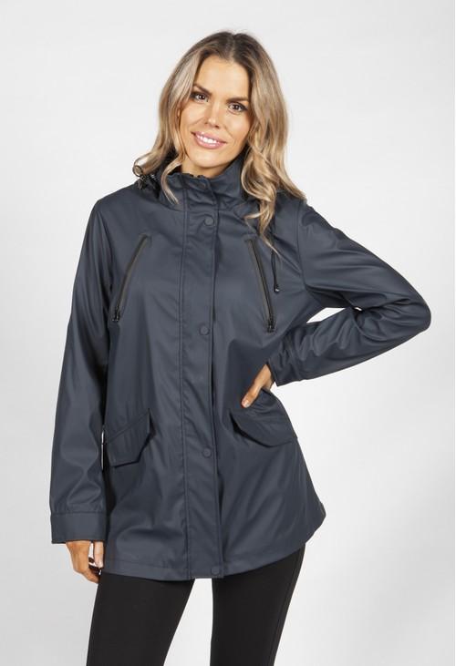 Pamela Scott Navy Marine Rain Coat
