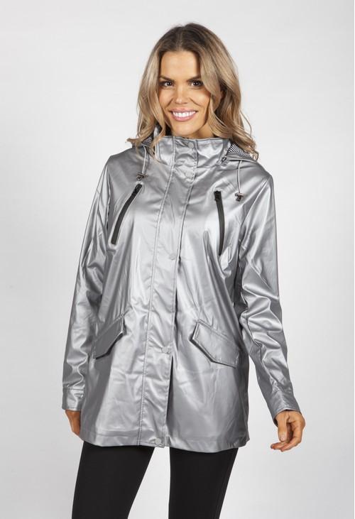Pamela Scott Silver Marine Rain Coat