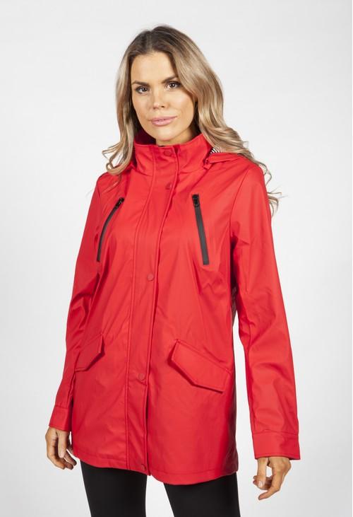 Pamela Scott Red Marine Rain Jacket