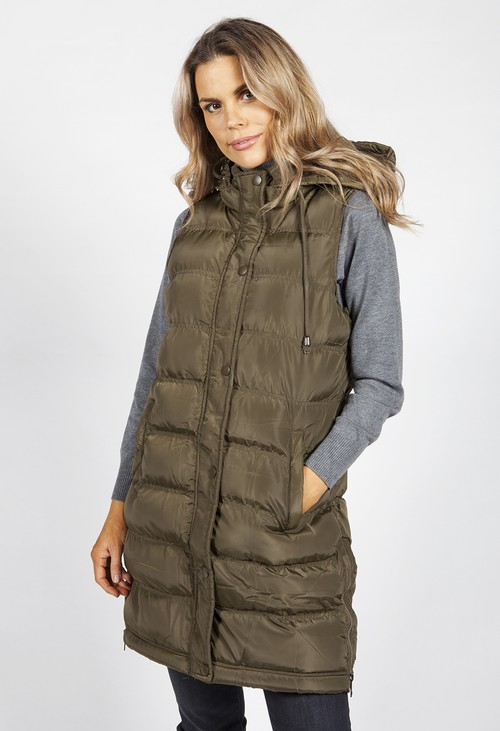 Pamela Scott Khaki Padded Gilet with Side Zips