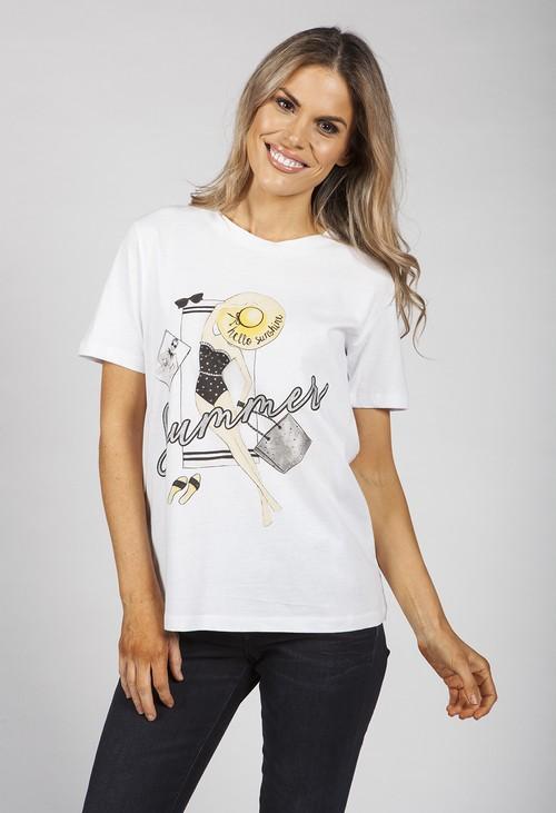 Pamela Scott Hello Sunshine Printed T-shirt