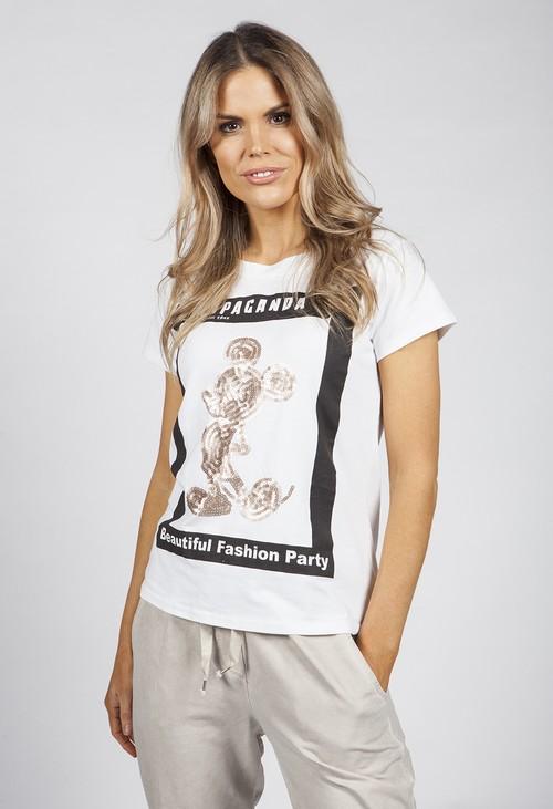 Pamela Scott Gold Sequin Printed T-Shirt