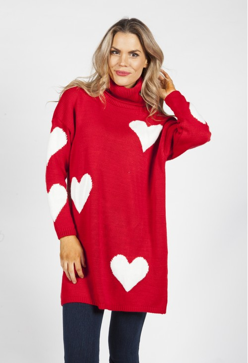 Zapara Red Sweetheart Knit Tunic