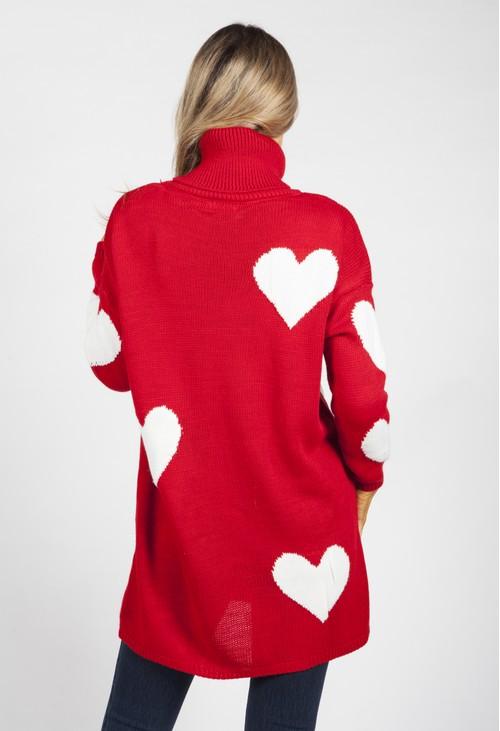 Zapara Red Sweetheart Knit Tunic