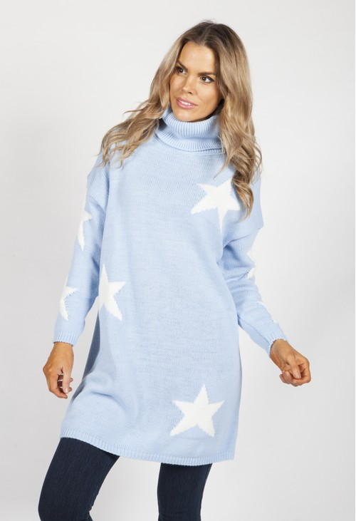 Zapara Sky Blue Knit Tunic with White Stars