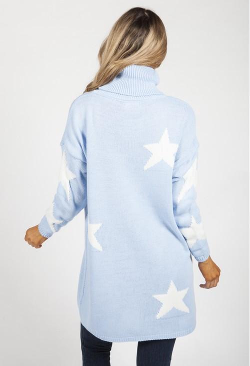 Zapara Sky Blue Knit Tunic with White Stars