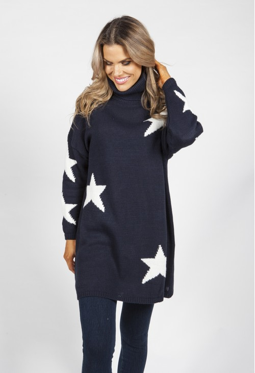 Zapara Navy Knit Tunic with White Star Design