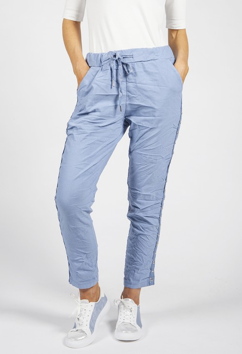 Zapara Steel Blue Ring Detail Joggers