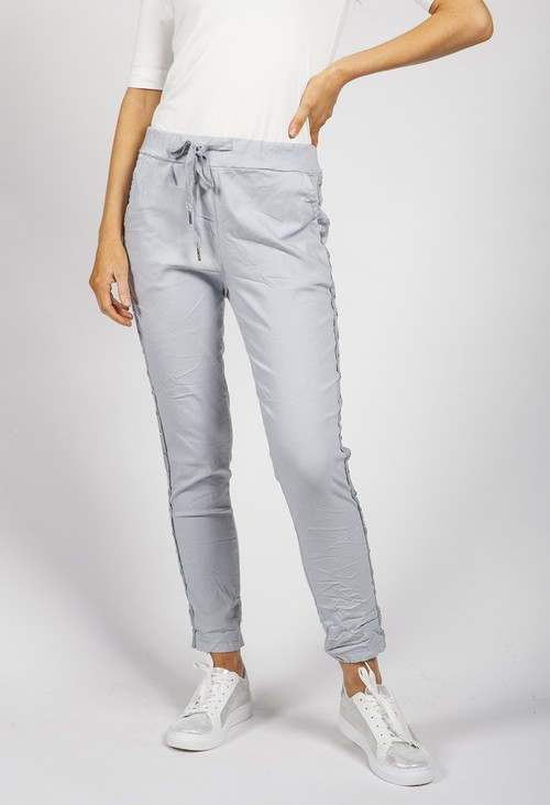 Pamela Scott Light Grey Ring Detail Joggers