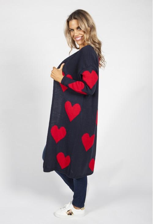 Zapara Navy Sweetheart Knit Cardigan