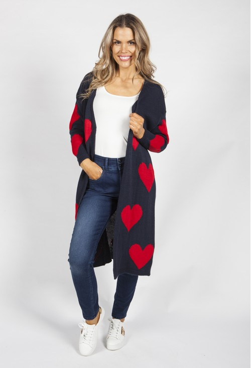 Zapara Navy Sweetheart Knit Cardigan