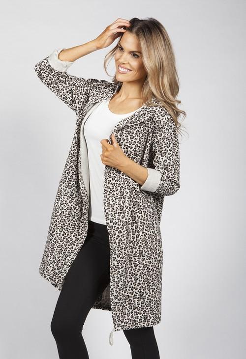Zapara Beige Leopard Print Open Cardigan