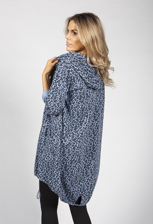 Zapara Deep Blue Leopard Print Open Cardigan
