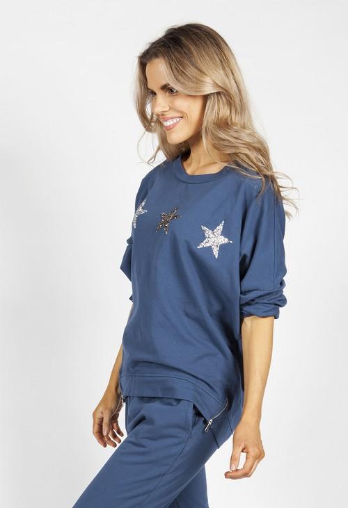 Zapara Blue Star Zip detail Sweatshirt