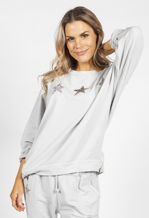 Zapara Pebble Grey Star Zip Detail Sweatshirt