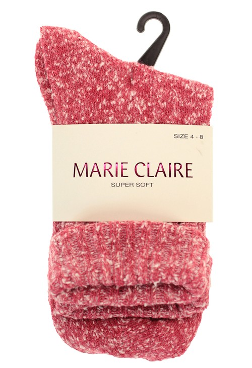 Marie Claire Super Soft Pink Cosy Socks