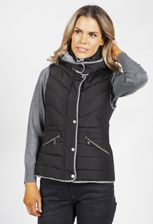 PS Collection Black and Grey Hooded Gilet