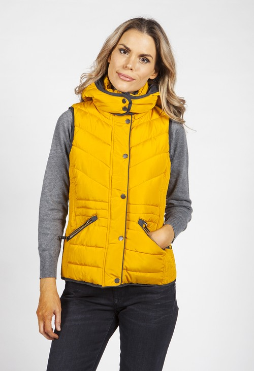 Pamela Scott Deep Yellow Hooded Gilet