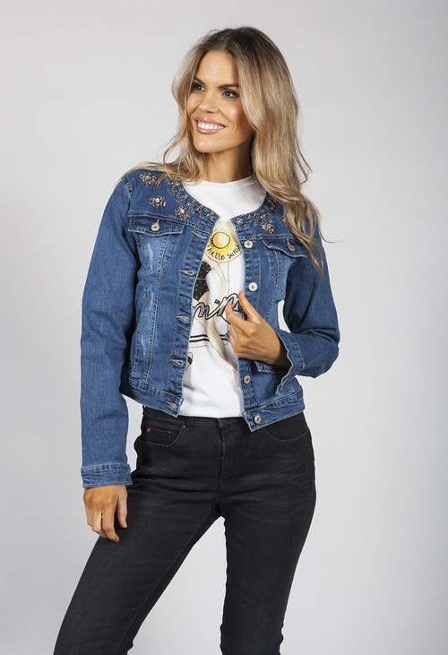 Pamela Scott Denim Jacket with Gem Floral Details