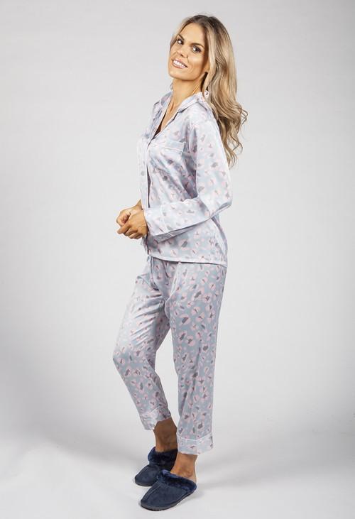 PS Nightwear Luxury Dusted Blue Silk Feel Pyjamas
