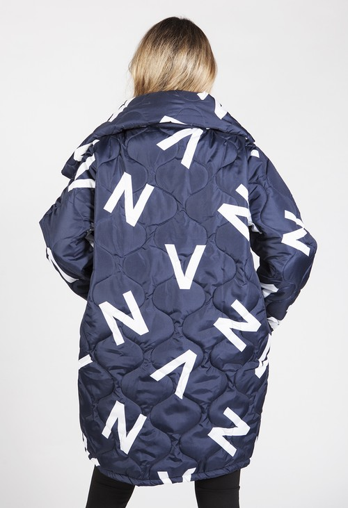 Zapara Navy Quilted Coat with Letter Print
