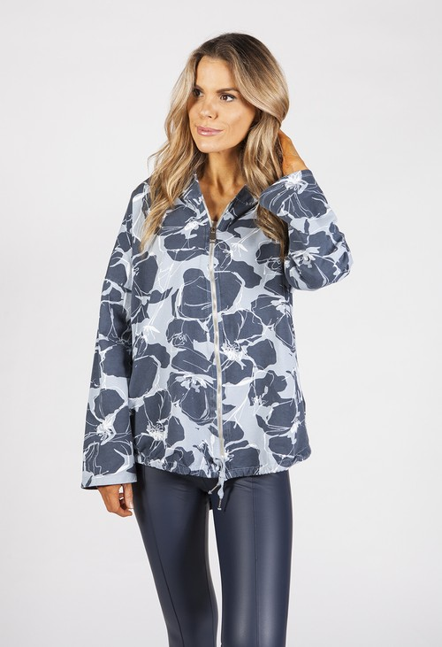 Zapara Blue Toned Tropical Print Jacket