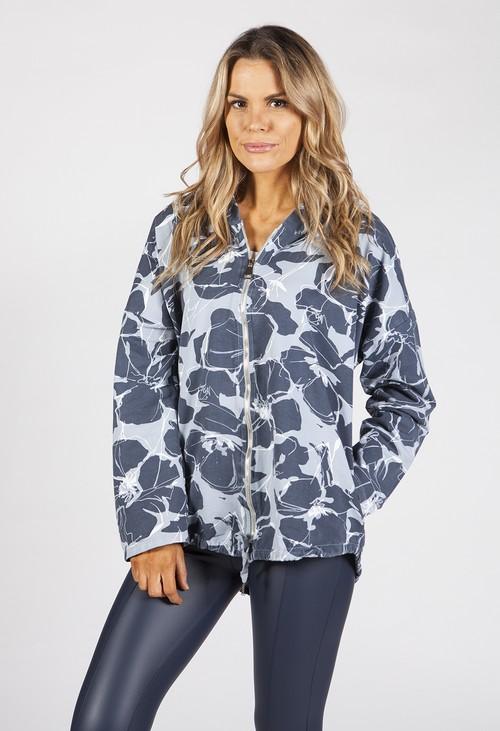 Zapara Blue Toned Tropical Print Jacket